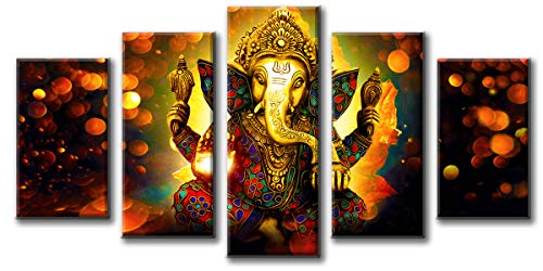 "DJSYLIFE Extra Large Premium Quality Picture Canvas Wall Art - 5 Pieces Hindu God Ganesha Art Wall Home Decor HD Print Home Wall Hanging Art Prints Modular Pictures - Ready to Hang (80"" W x 40"" H)"