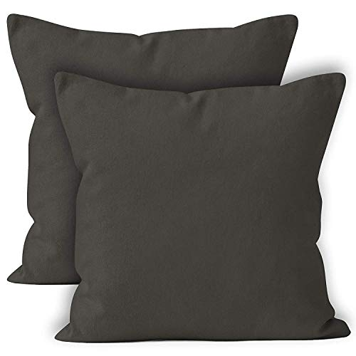 ENCASA Homes Throw Cushion Cover 2pc Set - Natural - 18 x 18 inch Solid Dyed Cotton Canvas Square Accent Decorative Pillow Case for Couch Sofa Chair Bed & Home