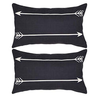 NAVIBULE Blue Arrows Accent Throw Pillow Cotton Linen Navy Farmhouse Decorative Throw Pillow Cover for Home Bed 18x18 Inches