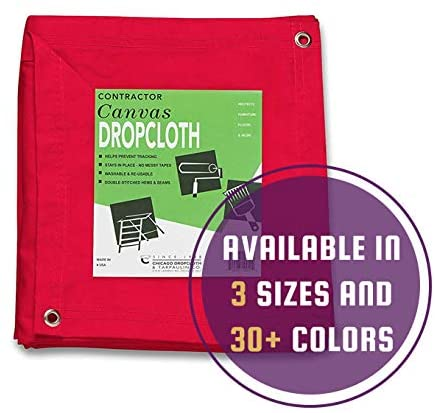 10 oz Cotton Canvas Drop Cloth with Grommets (8 feet x 10 feet, Red)