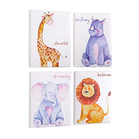 MHJY Canvas Prints Wall Art Decor Canvas Painting Artwork Framed Animals Canvas Picture for Baby Kids Bedroom,Living Room,Bathroom Wall Decor-Giraffe Rhino Elephant Lion,8x10,Set of 4