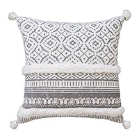 Tiffasea Lumbar Decorative Throw Pillow Covers, 12x20 Inch Accent Neutral Pillow Cases Boho Tufted Pillow Sham with Tassels Mud Cloth Cushion Cover Home Decor for Farmhouse Bedroom Living Room
