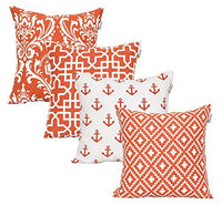 ACCENTHOME Accent Home Square Printed Cotton Cushion Cover,Throw Pillow Case, Slipover Pillowslip for Home Sofa Couch Chair Back Seat,4pc Pack 18x18 in Rust Color
