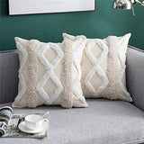 DEZENE Decorative Throw Pillow Covers for Couch Sofa Bed, 2 Pack 100% Cotton Square Pillow Cases, Woven Tufted Pillowcases, Accent Boho Cushion Covers for Farmhouse, Kids, 18 x 18 Inch, Beige