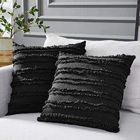 Longhui bedding Navy Blue Throw Pillow Covers for Couch Sofa Bed, Cotton Linen Decorative Pillows Cushion Covers, 18 x 18 inches, Set of 2
