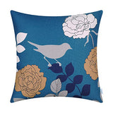 CaliTime Canvas Throw Pillow Cover Case for Couch Sofa Home Decoration Floral Cartoon Shadow Bird Silhouette 20 X 20 Inches Navy Ground Grey Bird