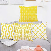 Fascidorm Lemon Yellow Throw Pillow Case Arrow Quatrefoil Accent Trellis Chain Pillow Cover Modern Cushion Cover Square Pillowcase Decoration for Sofa Bed Chair Car Set of 4, 18 x 18 Inch