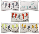 JWH Birds Accent Pillow Case Applique Hand Emobroidery Cushion Cover Wool Decorative Pillowcase Home Sofa Car Bed Living Room Decor Sham Gift 14 x 24 Inch Mustard Birds with Gray Plaid Bird on Branch