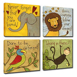 Vintage Cartoon Animal Canvas Wall Art Elephant Lion Monkey Parrot Inspiration for Kids Boy Girl Room Decoration,Framed (Animals, 12x12inchx4pcs (30x30cmx4pcs))
