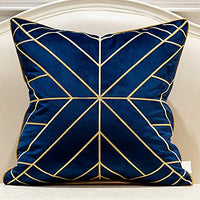 Avigers 18 x 18 Inches Navy Blue Gold Plaid Cushion Cases Luxury European Throw Pillow Covers Decorative Pillows for Couch Living Room Bedroom Car