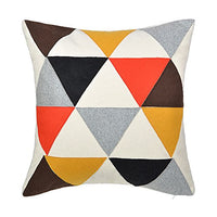 JWH Triangle Accent Pillow Case Applique Patch Cushion Cover Decorative Wool Pillowcase Home Couch Bed Living Room Sham Gift 18 x 18 Inch
