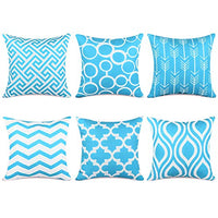 Top Finel Accent Decorative Throw Pillow Cases Durable Canvas Outdoor Throw Pillow Covers 20 X 20 for Couch Bedroom, Set of 6, Teal