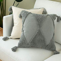 blue page Decorative Lumbar Throw Pillow Cover ONLY for Couch, Sofa, Bed - Boho Woven Tufted Pillow Case with Tassels, Accent Pillowcases, Cute Unique Pattern for Great Gifts, 12X20 Inch, Grey