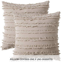 MIULEE Set of 2 Decorative Boho Throw Pillow Covers Cotton Linen Striped Jacquard Pattern Cushion Covers for Sofa Couch Living Room Bedroom 20x20 Inch Beige