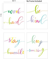 "Barri Design Inspirational Quote&Saying Art Painting Watercolor Words Set of 4 (8""X10"" Canvas Picture) Motivational Phrases Wall Art Office or Living Room Home Decor (Unframed)"
