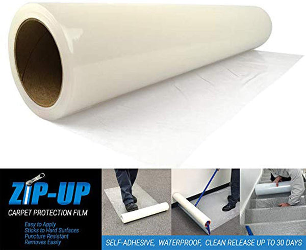 "Zip-Up Products Carpet Protection Film - 36"" x 500' Carpet Cover with Heavy-Duty Puncture Resistant 3 MIL Polyethylene Construction & High Tack Adhesive for Easy Installation - CPF36500"