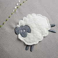 JWH Sheeps Applique Accent Pillow Case Berber Fleece Cotton Cushion Cover Handmade Pillowcase for Home Sofa Car Bed Living Room Office Chair Decor Pillowslip 14 x 21 Inch