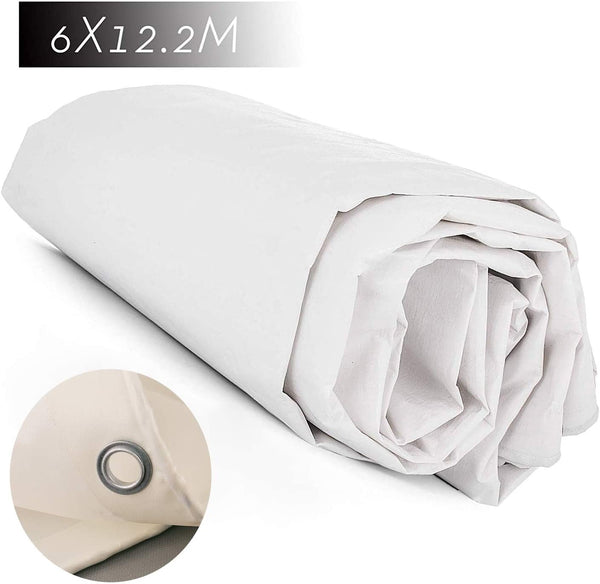 Happybuy 12ft x 24ft Heavy Duty White Canvas Tarp No Bleed and Seamless PE Fabric Tarpaulin Tarp Sun Protection Rainproof Shade Cloth Outdoor Insulation Durable for All Purpose (12ft x 24ft, White)