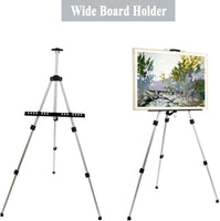 "amzdeal Art Easel Stand 23.6""- 66"" Adjustable Artist Easel Stand Extra Thick Aluminum Metal Tripod Display Picture/Post/ a2 a3 a4 Canvas Easel Floor/Table-Top Drawing and Displaying"