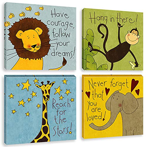 Biufo Safari Animals Canvas Wall Art Paintings Positive Quotes Woodland Print Pictures for Kids Baby Playroom Decor Artwork Gift, Framed Ready to Hang