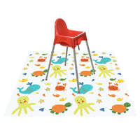 "51"" Splat Mat for Under High Chair/Arts/Crafts, Wo Baby Washable Spill Mat Water-resistant Anti-slip Floor Splash Mat, Portable Play Mat and Table Cloth"