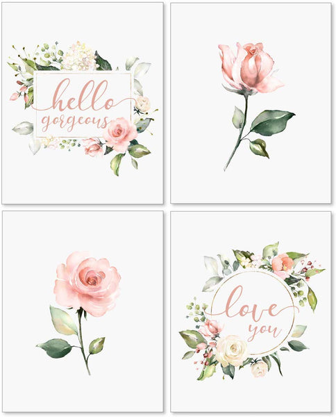 Floral Nursery Wall Art Decor - 8x10 Unframed Set of 4 Pearl Prints - Baby Girl Flower Quotes Shower Bedroom Bathroom Decorations - Pink Roses Hello Gorgeous Love