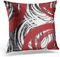 Accrocn Throw Pillow Covers Red and Black White Gray Spiral Design Pattern Retro Abstract Elegant Multicolor Cushion Decorative Pillowcases Polyester 18 x 18 Inch Square Pillowcase Hidden Zipper