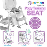 Babyloo Bambino Booster 3 in 1 - Collapsible Toilet Training Step Stool assists Your Toddler to go While They Grow! Convertible Potty Trainer for All Stages Ages 1-4 (Gray)