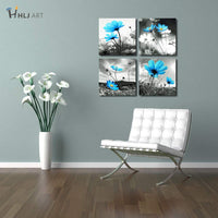 HLJ ART Modern Salon Theme Black and White Peacock Blue Vase Flower Abstract Painting Still Life Canvas Wall Art for Home Decor 12x12inches 4pcs/Set (Blue, 12x12inchesx4pcs (30x30cmx4pcs))