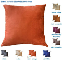 SUPERSaver Set of 2 Faux Suede Throw Pillow Covers 18x18 - Decorative Pillow Covers for Couch or Sofa Bed, Use as Accent Throw Pillows, Decorative Pillows, Couch Pillows - Cushion Cover, Rust Orange