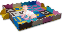 KAYBABY Baby Play Mat with Safe Fence Extra Large Foam Tiles Tummy Time Mat Playmat for Kids Toddlers Crawling Play Rug for Play Baby Activity Gym Playroom