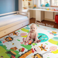 "Folding Play Mat |【Easy to Clean, Fold Up】Non-BPA Non-Toxic Foam Baby Playmat 79"" x 70"" x0.6"" Thick Extra Large Reversible Crawling Mat Portable Toddlers Kids Waterproof Non-Slip Activity Tummy Time"