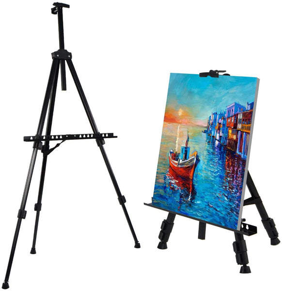 "Amzdeal 66"" Aluminium Art Easel Stand, a1-a4 Floor/Table-Top Canvas Picture Poster Tripod Display, 23.6""-66 Adjustable with Carry Bag, Lightweight, Black"