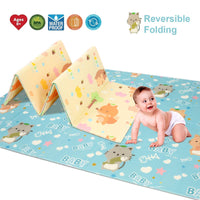 Baby Reversible Play Mat 78.7''x 59''x0.4'' Double-Sided Crawling Mat Foldable Waterproof Non-Toxic Portable Non-BPA Floor Mat for Toddlers, Infants, Kids