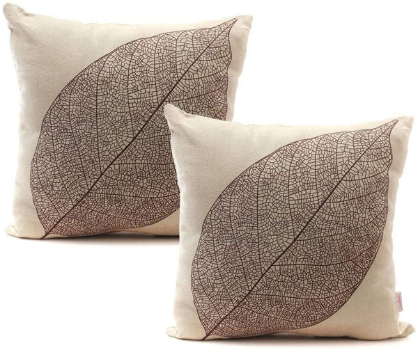"Luxbon Set of 2Pcs Rustic Farmhouse Leaves Decor Cotton Linen Throw Pillow Cases Sofa Couch Chair Decorative Cushion Covers 18""x18"" / 45x45cm Insert Not Included"