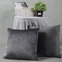 YINFUNG Velvet Pillow Cover Charcoal Grey Dark Gray 18x18 Accent Bed Cozy Soft Decorative Couch Toss Throw Pillow Cover Sofa Living Room 2 Set
