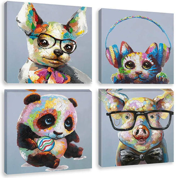 Biufo Colorful Animals Canvas Wall Art Prints 4 Pieces Funny Pig Panda Cute Cat Dog Painting Picture for Baby Kids Room Decor, Gallery Wrap Ready to Hang
