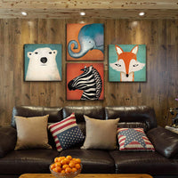 Toddler Wall Decor Cartoon Animals Canvas Prints Wall Art for Kids Room Home Decoration Cute Polar Bear Elephant Fox Zebra Painting Pictures Boys Room Framed Artwork Bedroom Bathroom 12x12 Inch 4pcs