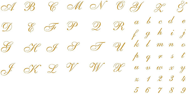 "1½"" Cursive Stencil - Reusable Letters Alphabet ABC Font Wall Stencil Template - Use on Walls, Floors, Fabrics, Journal, Glass, Wood, Cards, and More…"