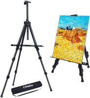 "Easel Stand, Ohuhu 72"" Artist Easels for Display, Aluminum Metal Tripod Field Easel with Bag for Table-Top/Floor/Flip Charts, Black Art Easels W/Adjustable Height 25-72"" for Back to School"