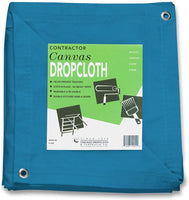 10 oz Cotton Canvas Drop Cloth with Grommets (10 feet x 12 feet, Turquoise)