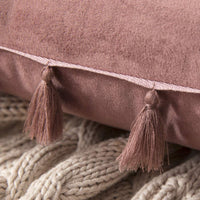 MIULEE Pack of 2 Velvet Soft Solid Decorative Throw Pillow Cover with Tassels Fringe Boho Accent Cushion Case for Couch Sofa Bed 20 x 20 Inch Jam