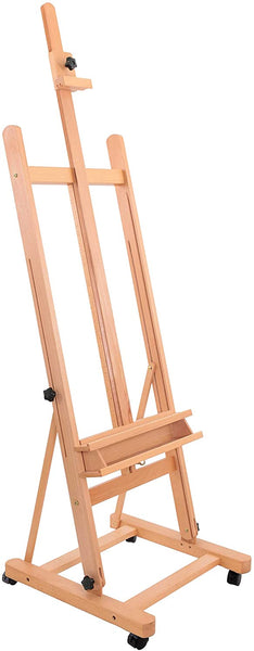 "U.S. Art Supply Medium Wooden H-Frame Studio Easel with Artist Storage Tray and Wheels - Mast Adjustable to 96"" High, Holds Canvas to 48"" - Sturdy Beechwood Holder Floor Stand - Display Paintings"