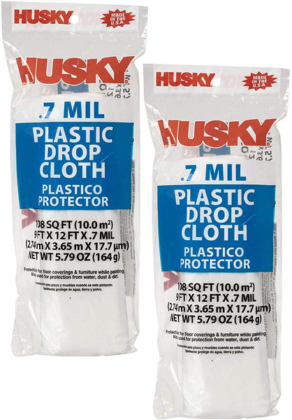 Husky Plastic Drop Cloth Sheeting 9' X 12' (.7 MIL - 9ft x 12ft, 2 Pack)