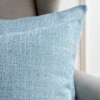 MIULEE Pack of 2 Decorative Throw Pillow Covers Linen Burlap Square Solid Farmhouse Modern Concise Throw Cushion Case Pillowcase for Sofa Car Couch 20x20 Inch 50x50 cm Light Blue