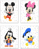 Mickey Mouse Nursery Wall Decor - Set of 4 (8 inches x 10 inches) Art Prints - Minnie Donald & Goofy Original Glossy Photos