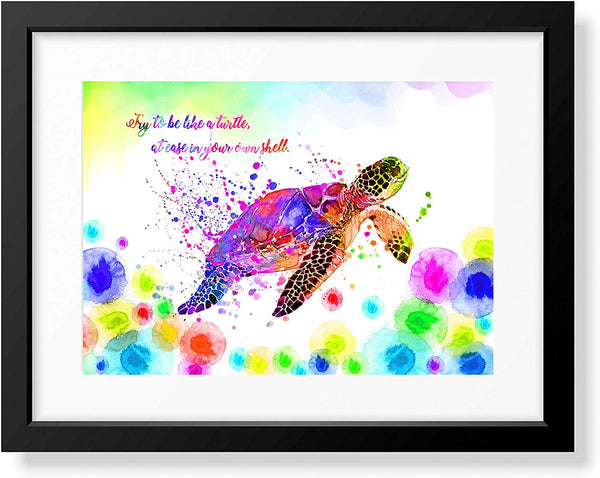Uhomate Colorful Sea Turtle Sea Turtle Home Canvas Prints Wall Art Anniversary Gifts Baby Gift Inspirational Quotes Wall Decor Living Room Bedroom Bathroom Artwork C056 (11X14)