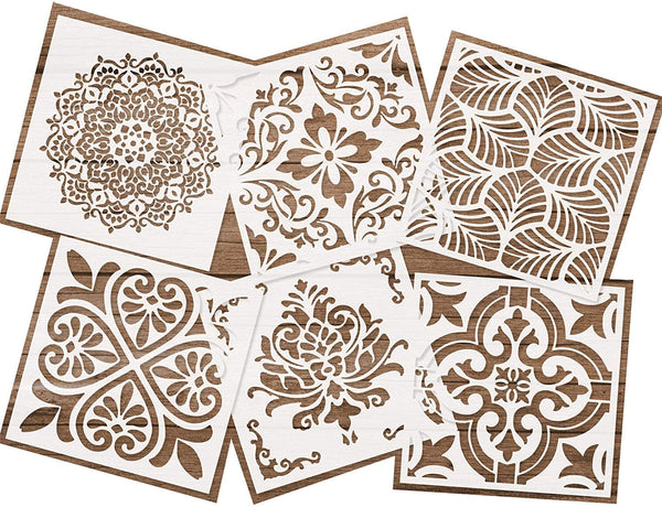 Reusable Stencils Set of 6 (6x6 inch) Family Interaction Painting Stencil Floor Wall Tile Fabric Wood Stencils DIY Decor