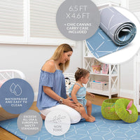 Baby Play Mat for Infants | One-Piece Reversible Foam Floor Mat | Large | Eco-Friendly | Extra Soft | Thick | Non-Toxic | Toddlers | Kids (Satin Blue/Gray Storm, Large)