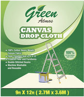Green Atmos 1 pack 5 X 12 canvas drop cloth 8 oz cotton super heavy duty eco friendly all purpose painting interior paint shield floor furniture protector cotton duck fabric